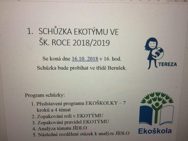 1. SCHŮZKA EKOTÝMU VE ŠK. ROCE 2018/2019