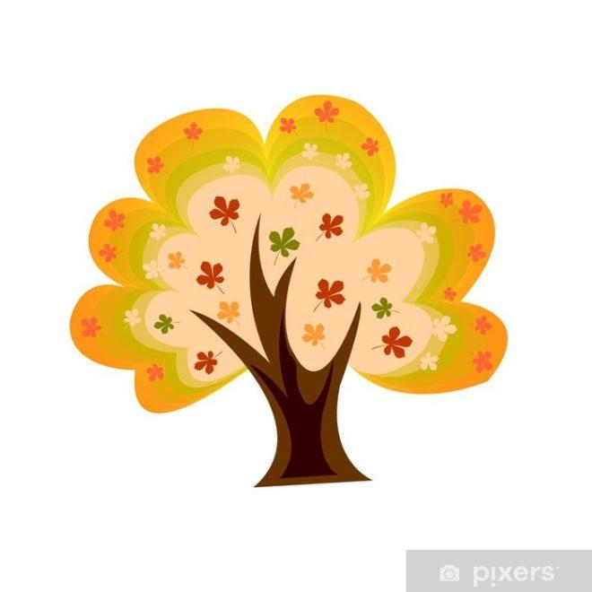 cartoon autumn chestnut tree