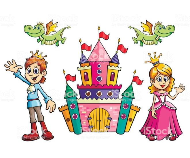 Cartoon set in vector Prince, Princess, castle and dragon. Illustration for the children, holiday, kind, and funny.