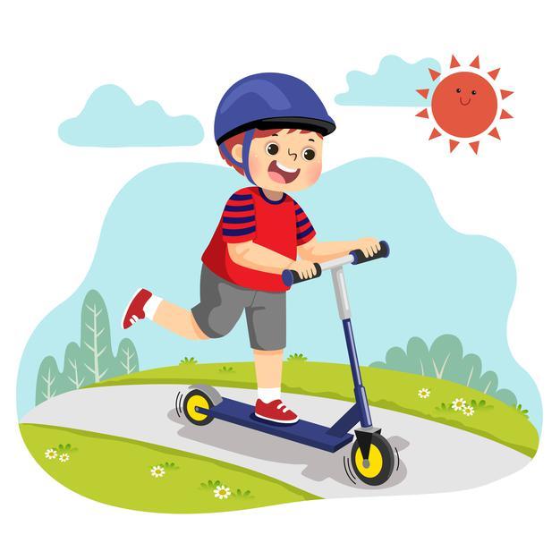 dessin-anime-petit-garcon-equitation-deux-roues-scooter-dans-parc_283146-484